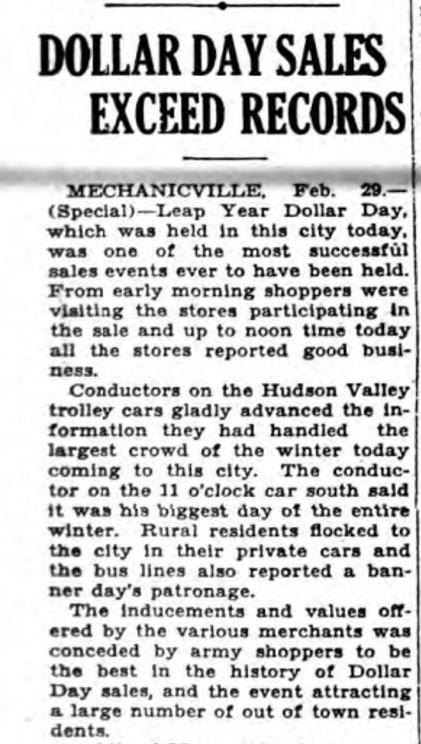 Mechanicville Dollar Day February 29 1928