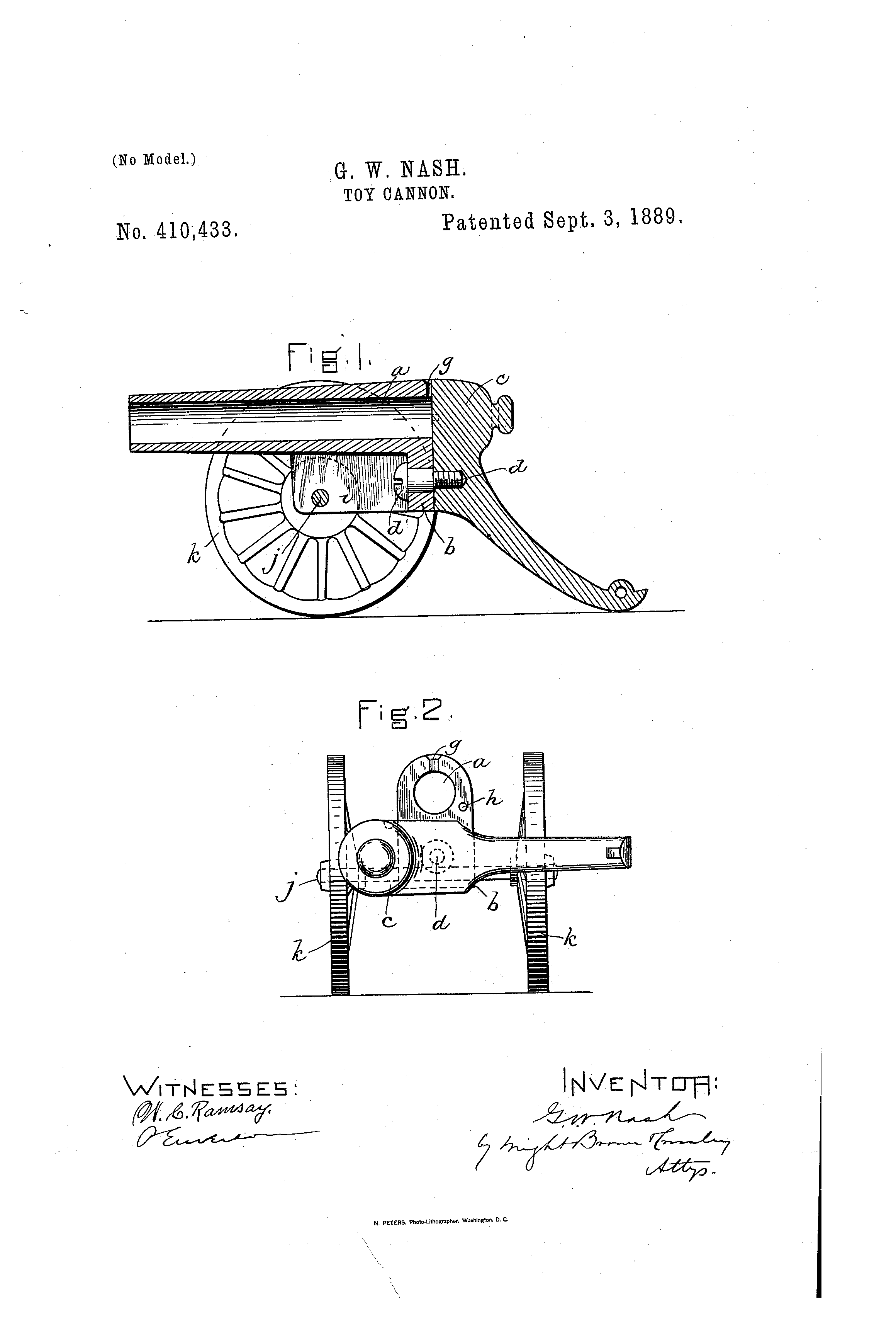Toy cannon US 410433 A Accessed via Google Patent Search